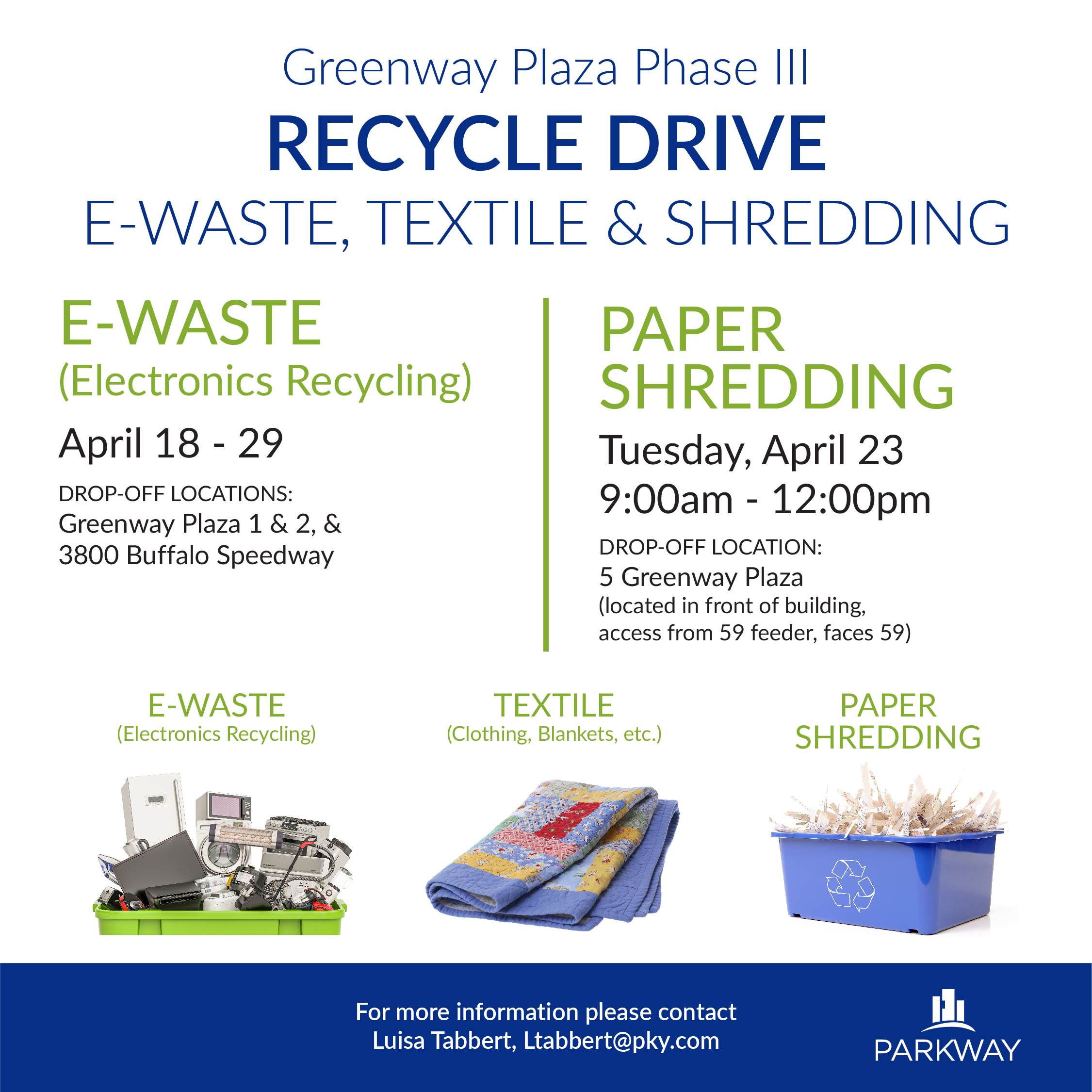 E-Waste and Shredding Drive | Greenway Plaza